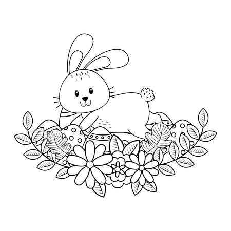 Illustration pour little rabbit with egg painted and flowers easter character vector illustration design - image libre de droit