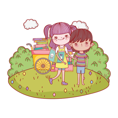 Illustration for happy little kids with cart books in the landscape - Royalty Free Image