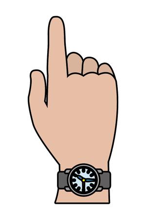 Illustration pour human hand wearing clock cartoon vector illustration graphic design - image libre de droit