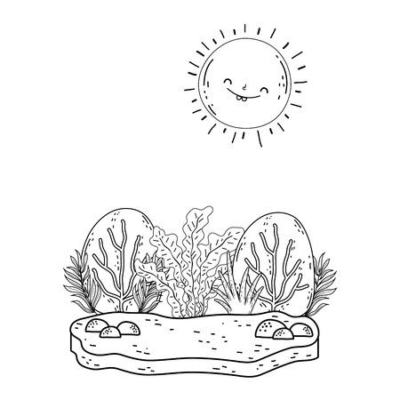 beautiful landscape with sun and bush scene vector illustration design