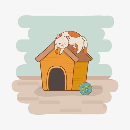 cute little kitty mascot character vector illustration design