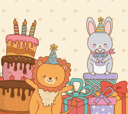 Photo pour birthday card with cute animals woodland vector illustration design - image libre de droit