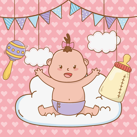 Illustration for cute baby shower little baby with elements cartoon vector illustration graphic design - Royalty Free Image