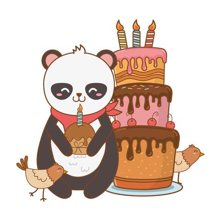 Vektor für cute little animals at birthday party festive scene cartoon vector illustration graphic design - Lizenzfreies Bild