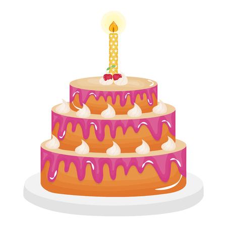Illustration pour delicious sweet cake with cherries and candles vector illustration design - image libre de droit