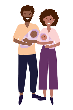 Illustration for couple carrying babys avatar cartoon character vector illustration graphic design - Royalty Free Image