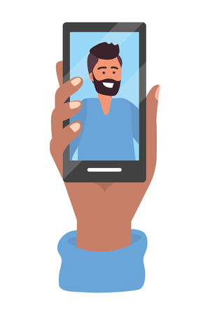 Illustration pour Hand holding smartphone tech video call live chat vector illustration graphic design - image libre de droit