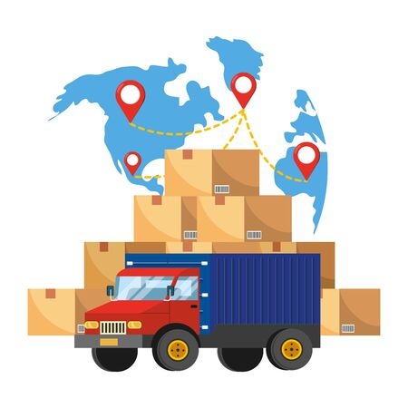 Illustration for truck and map - Royalty Free Image