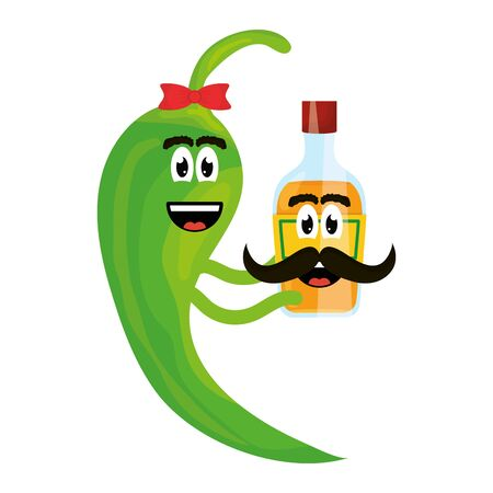 Illustration for chilli pepper with tequila bottle comic character - Royalty Free Image