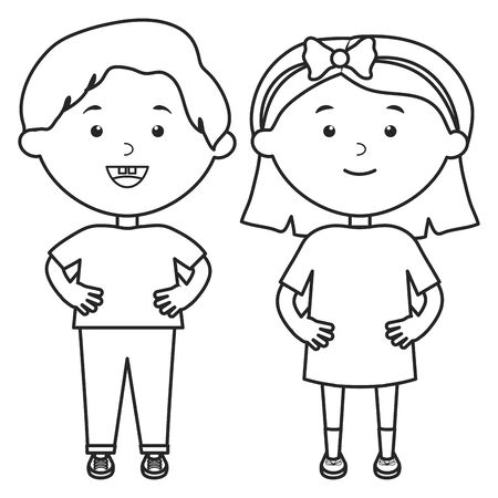 Illustration for cute little kids couple characters - Royalty Free Image