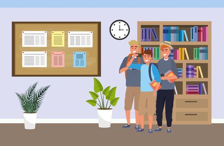 Illustration pour Millennial group on study room background - image libre de droit