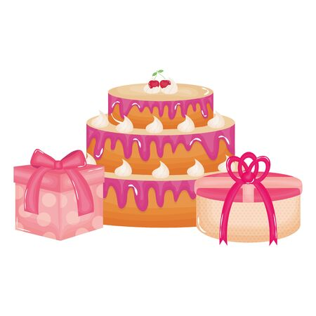 Illustration for gifts boxes presents with sweet cake - Royalty Free Image