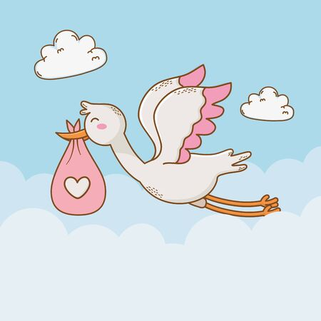 Illustration for baby shower card with stork vector illustration design - Royalty Free Image