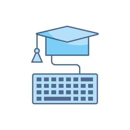 Illustration pour graduation hat keyboard connection school education learning line and fill - image libre de droit