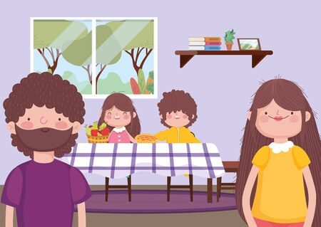 Illustration for parents and kids in dining room happy thanksgiving celebration - Royalty Free Image