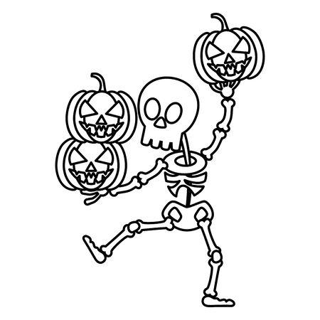 Illustration pour trick or treat - happy halloween line style - image libre de droit