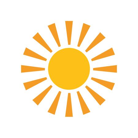 Illustration for sun hot flat style icon - Royalty Free Image