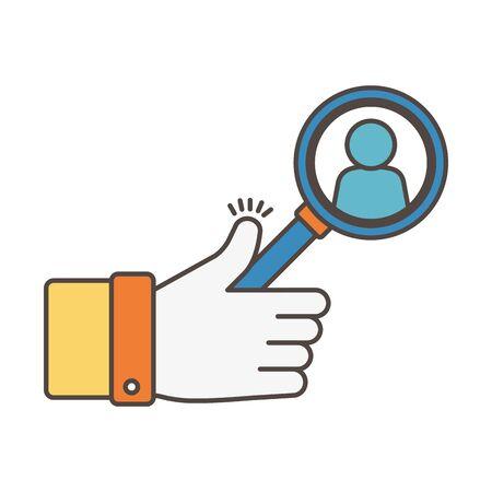 Illustration pour like with magnifier avatar social media icon - image libre de droit