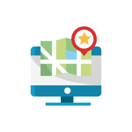 Illustration pour computer map location favourite pointer gps navigation - image libre de droit