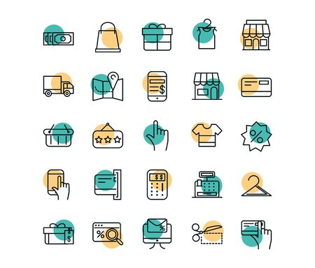 Illustration for shopping commercial icons set line style dot color - Royalty Free Image