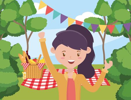 Illustration pour Woman cartoon having picnic design, Food party summer outdoor leisure healthy spring lunch and meal theme Vector illustration - image libre de droit