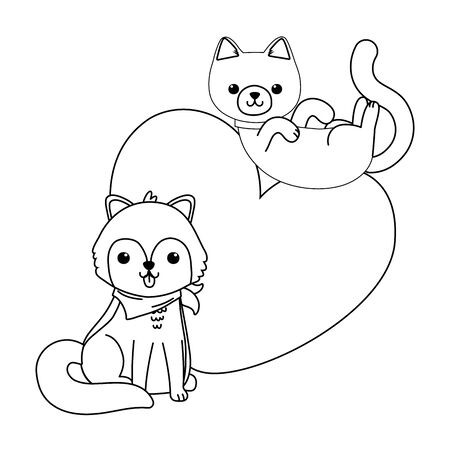 Photo pour Isolated cat and dog cartoon design - image libre de droit