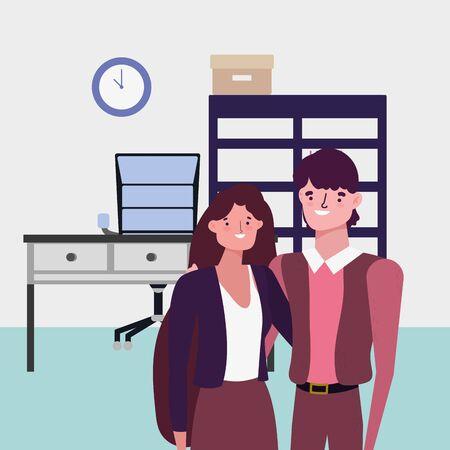 Illustration pour Businessman and businesswoman avatar design - image libre de droit