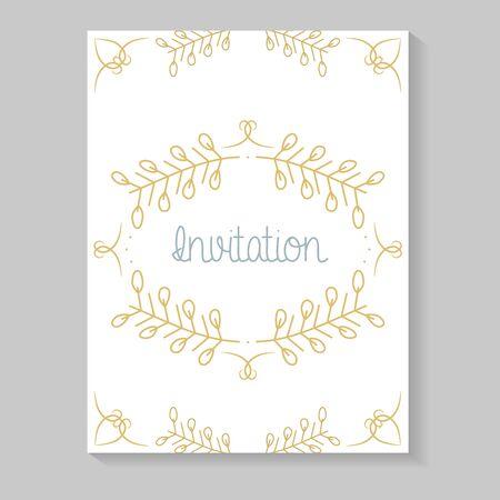 Illustration pour invitation card with leafs golden calligraphy - image libre de droit