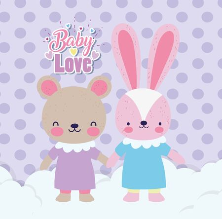 Illustration pour baby shower cute rabbit and bear girls with dress holding hands on clouds - image libre de droit