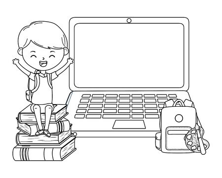 Illustration pour Boy kid of school and laptop design - image libre de droit
