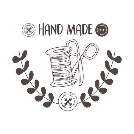 Illustration pour hand made sewing with thread tubino and scissors - image libre de droit