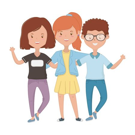 Illustration pour Girls and boy design, Firiendship together friends happy people and young theme Vector illustration - image libre de droit