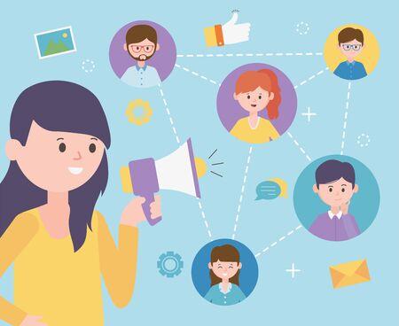 Illustration pour woman talking speaker advertising group people network social media - image libre de droit