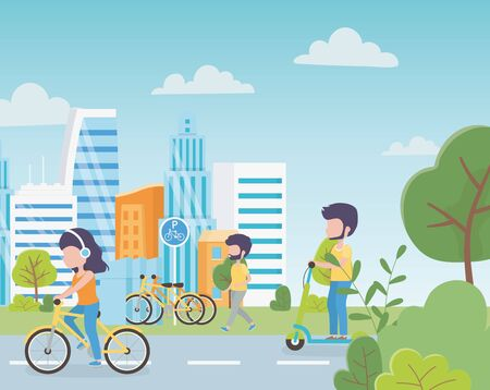 Illustration pour urban ecology parking bikes woman in bicycle man in electric scooter people walking street town vector illustration - image libre de droit