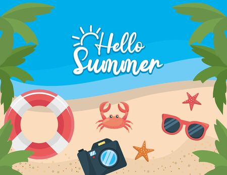 Illustration pour palms trees with float and crab with starfishes and camera in the beach to summer poster vector illustration - image libre de droit