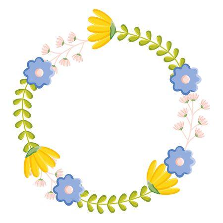Illustration pour flowers garden plants circular frame vector illustration design - image libre de droit