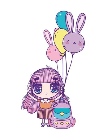 kids, cute little girl anime cartoon with school backpack and balloons shape rabbit