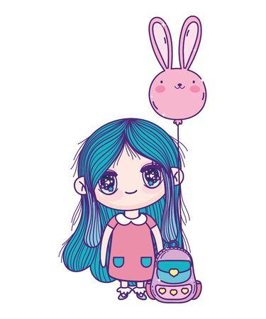 kids, cute little girl anime cartoon with school backpack outdoor