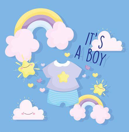Illustration pour boy or girl, gender reveal its a boy clothes rainbow clouds stars card - image libre de droit