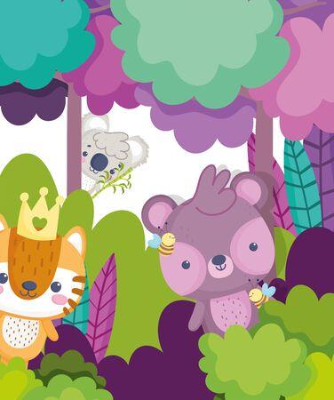 Illustration pour cute animals koala bear tiger forest leaves foliage cartoon - image libre de droit