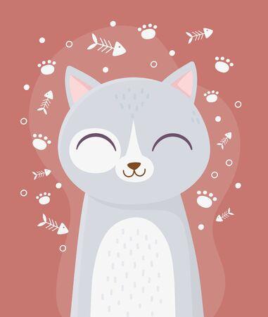 cute cat with close eyes pet fishbone paw decoration cartoon vector illustration