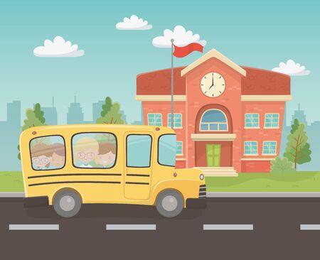 Illustration pour school building and bus with kids in the landscape scene vector illustration design - image libre de droit