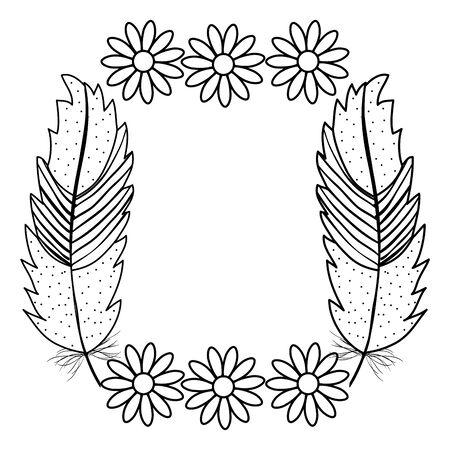 Illustration pour bohemian frame with feathers and flowers - image libre de droit