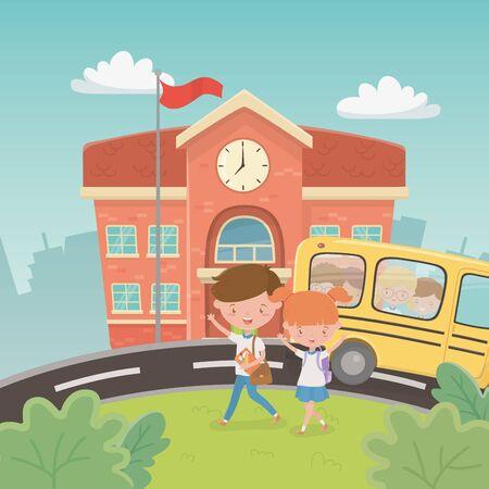 Illustration pour school building and bus with kids in the landscape scene - image libre de droit
