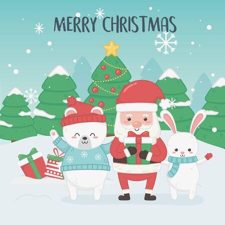 Illustration pour happy merry christmas card with santa claus and animals - image libre de droit