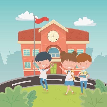 Illustration pour school building with kids in the landscape scene vector illustration design - image libre de droit