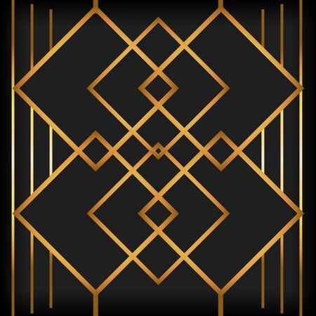 Illustration for black background art deco golden lines retro style vector illustration - Royalty Free Image