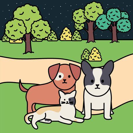 Ilustración de little dogs and cat in the park vector illustration design - Imagen libre de derechos
