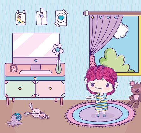 Illustration for anime cute boy room computer table toys window - Royalty Free Image