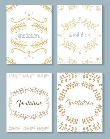 Photo pour set invitation cards with leafs golden calligraphy vector illustration design - image libre de droit